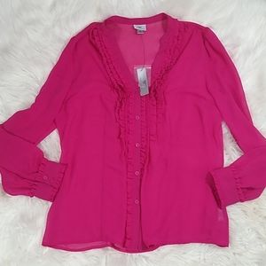 NWT Worthington sheer ruffle button down top xl
